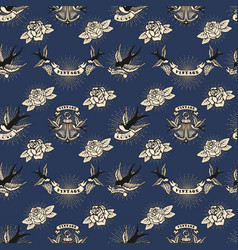 seamless pattern with swallows and roses and vector image