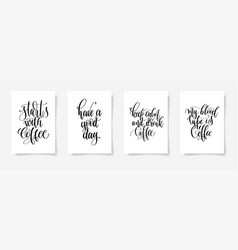 set four hand lettering poster about drink vector image