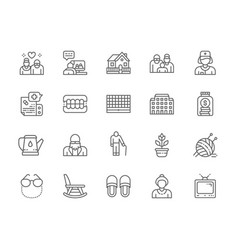 Set nursing home line icons pensioners vector