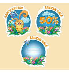 Set sticker with rabbit vector image