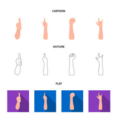 Sign language cartoonoutlineflat icons in set vector