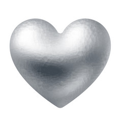 silver polygonal heart isolated on white vector image