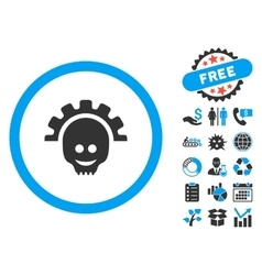 Skull Gear Smile Flat Icon with Bonus vector