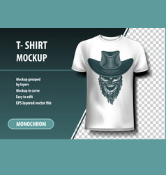 Skull with cowboy hat t-shirt template fully vector