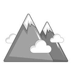 Snowy mountains icon cartoon style vector