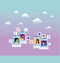 Social media group acounts templates vector