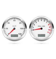 Speedometer and tachometer 3d round gauges set vector