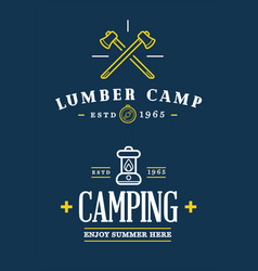 Summer camp axe and lantern on chalkboard vector