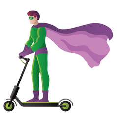 Superhero on electric scooter on white vector