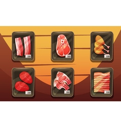 Top View Of Counter With Trays Of Meat Products vector image