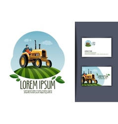 tractor logo design template harvest or farm icon vector image