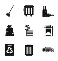 Trash icons set simple style vector image