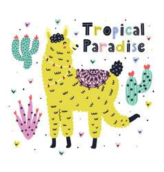 tropical paradise card with a cute llama summer vector image