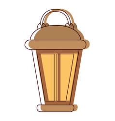 vintage lantern in watercolor silhouette vector image