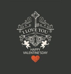 Vintage valentine card with key cupids and heart vector