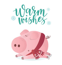 warm wishes banner cute pig in winter scarf vector image