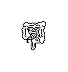 Web line icon intestines black on white vector