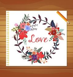 Wedding with hand-drawn flowers and plants for vector