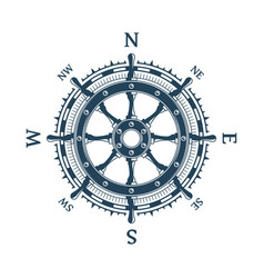 wind rose and helm wheel vector image