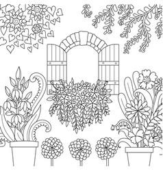 Window and garden vector