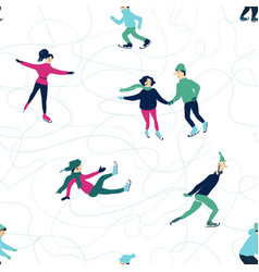 Winter seamless pattern with skating people vector