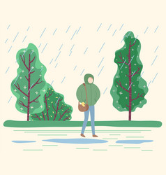 Woman strolling in park in rainy day in autumn vector