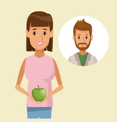 colorful poster half body woman holding an apple vector image vector image