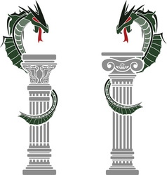 Dragons and columns vector