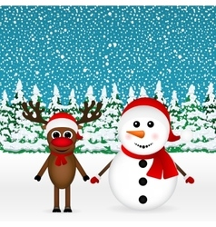 reindeer and a snowman standing in the forest vector image vector image