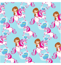 seamless pattern with girl on a unicorn vector image