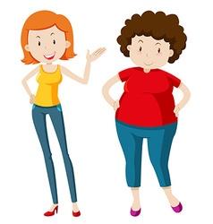 Slim woman and chubby woman vector image