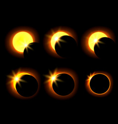 solar eclipse in six different phases vector image