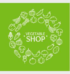 vegetables food shop round design template outline vector image vector image