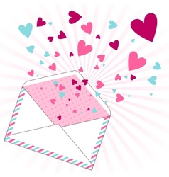 Background with hearts flying out of the envelope vector image