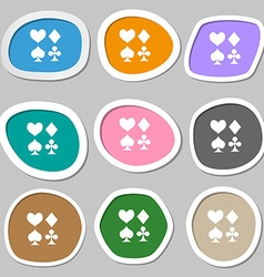 card suit Icon symbols Multicolored paper stickers vector image