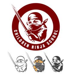 children ninja school cartoon emblem vector image