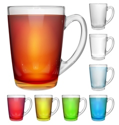Glass cups with multicolored drinks vector
