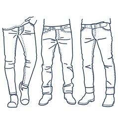 Hand drawn fashion Collection of mens jeans vector image
