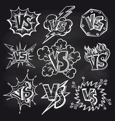 versus signs set on chalkboard vector image vector image