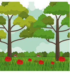 colorful background with meadow with red flowers vector image