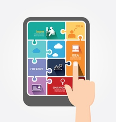 infographic finger push tablet Template jigsaw vector image vector image
