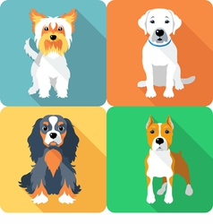Set icon flat design dogs different breed vector image vector image
