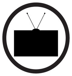Tv icon black white vector image vector image