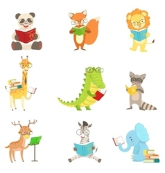 Cute animal characters reading books set vector