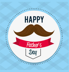 happy father day card with mustache and ribbon vector image vector image