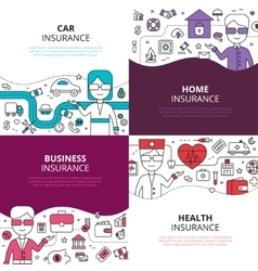 Insurance 4 linear design icons square vector image vector image
