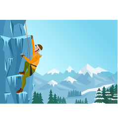 rock climbing man male on the ice rock winter vector image vector image