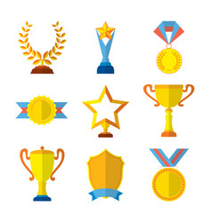 trophy icons flat set of medallion success award vector image