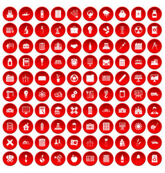 100 company icons set red vector