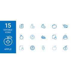 15 apple icons vector